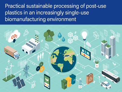 Practical sustainable processing of post-use plastics in an increasingly single-use biomanufacturing environment